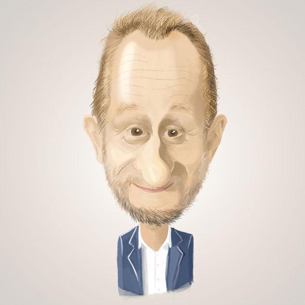 La caricature digitale en couleur de Benoît Poelvoorde (acteur belge)