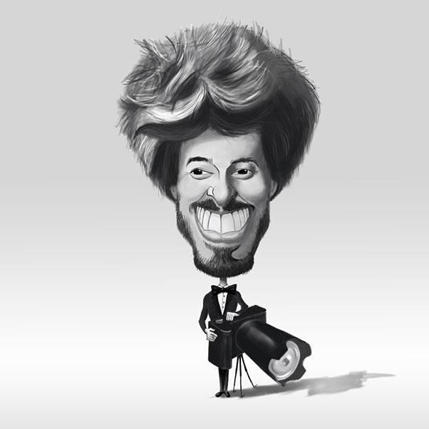 La caricature digitale en noir et blanc d'un photographe qui s'est accoudé à son appareil photo