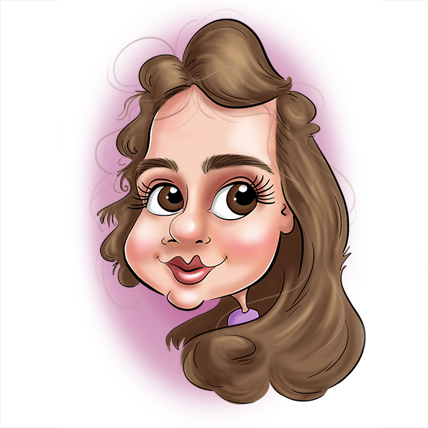 La caricature digitale en en couleur d'une petite fille. Cette idée de cadeau original a eu son père qui voulait lui offrir. C'est un cadeau personnalisée qui lui a fait plaisir